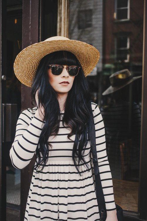 Striped Dress, Straw Hat, and Wayfarers