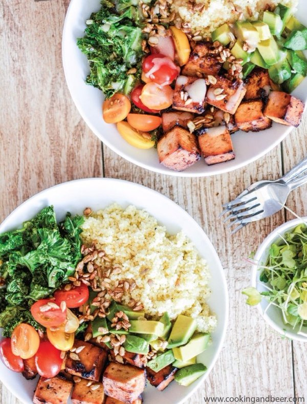 Kale and Couscous Tofu Bowls with Orange Tahini Dressing - Ladies…