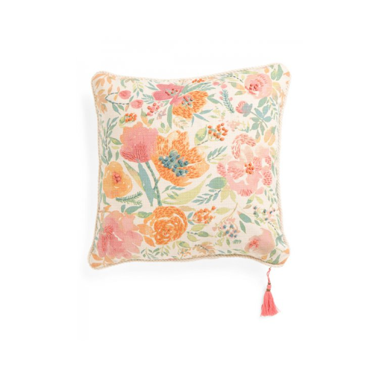 Simply Envogue Decorative Pillow : Made in India 20x20 Floral Reversible Pillow by ENVOGUE. $24.99
