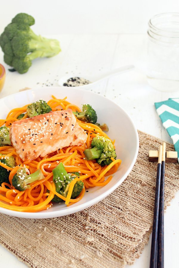 SALMON with BUTTERNUT SQUASH NOODLES and SESAME BROCCOLI
