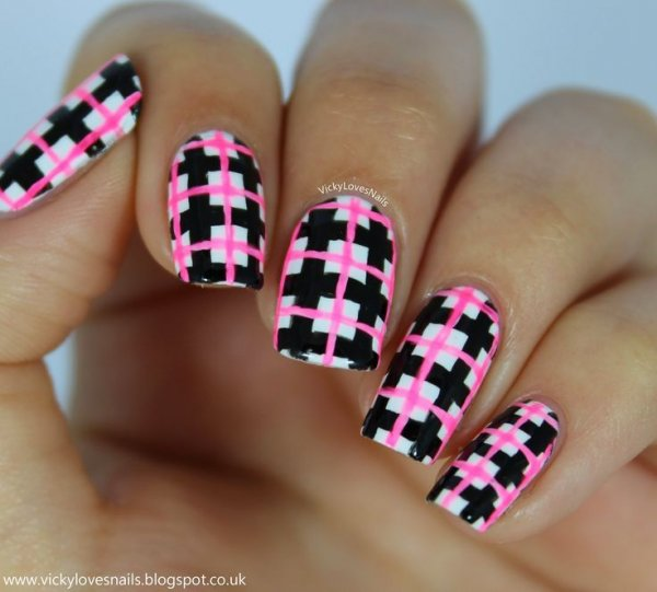 nail,finger,pink,nail care,manicure, - Fun And Fancy - 39 Awesome Plaid Nail Art Designs For Your Preppy…
