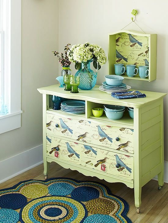 Convert a Dresser into a Buffet with Paint and Decorative Paper