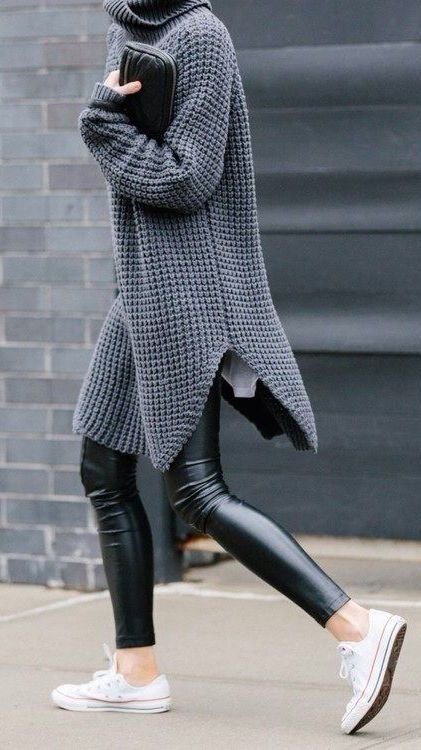 Coated Leggings and an Oversize Knit