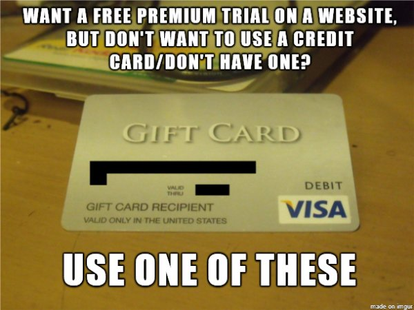 Visa Gift Cards Work for Free Trials