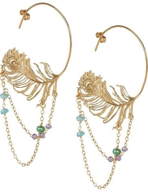 Alex Monroe 22-Karat Gold-Plated Peacock-Feather Hoop Earrings