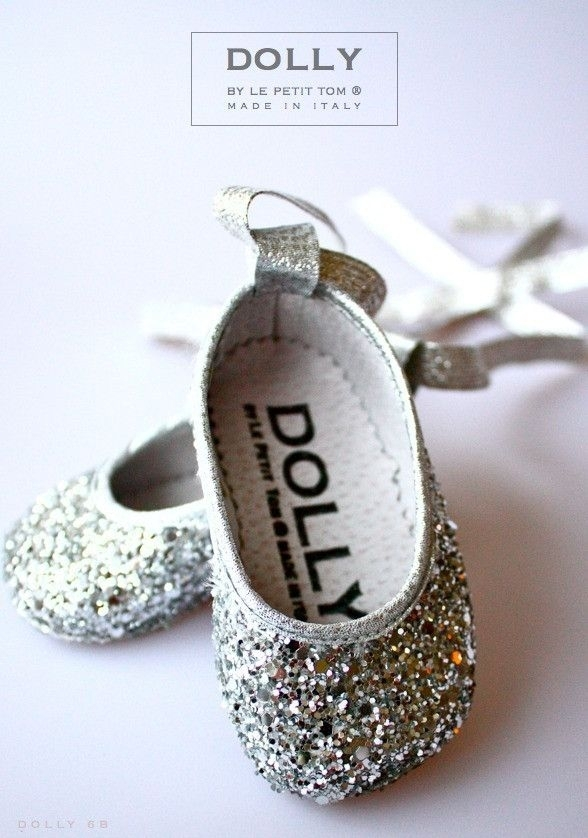 Silver Glitter Adorable Pairs Baby Shoes