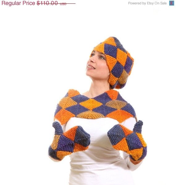 Geometric Knit Scarf, Mittens and Collar Set