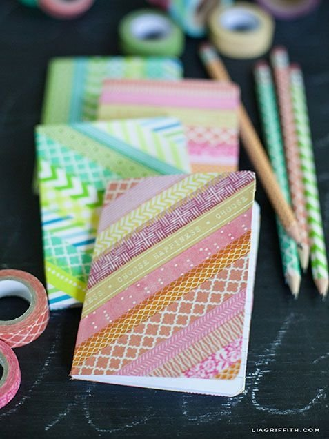 Washi Tape Notebooks and Pencils