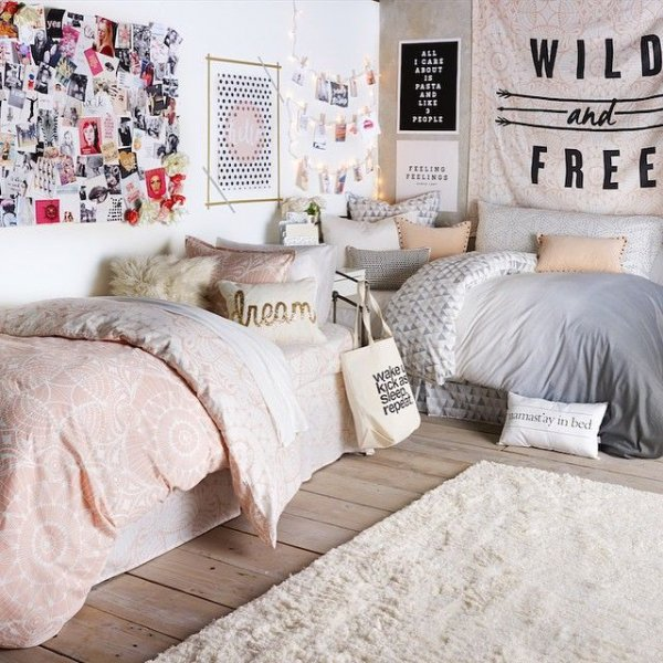 Put the Beds in the Corner to Give You and Your Roomie More Space to Live