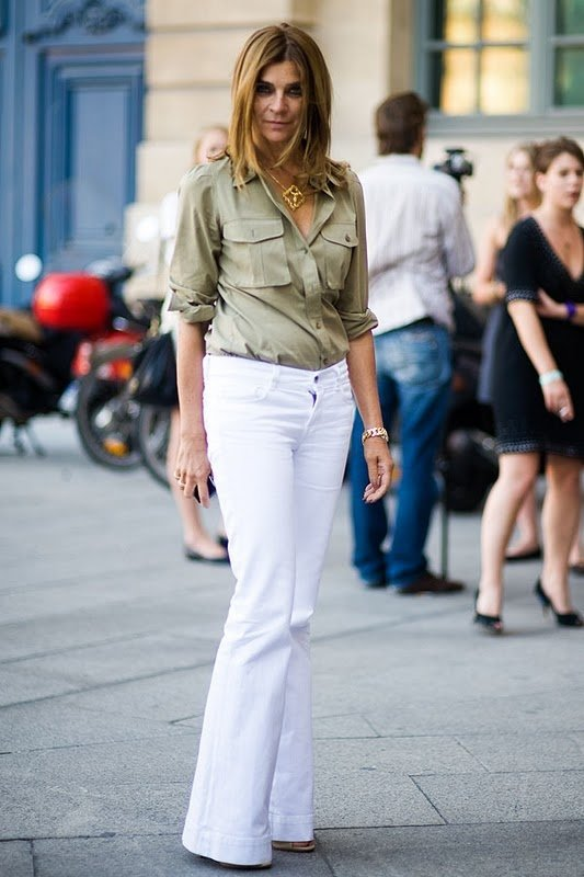 white flare jeans - Jean Yu Beauty