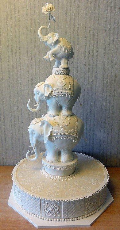 This Elephant Layered Wedding Cake is Fabulous