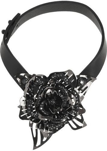 Lanvin Leather and Swarovski Crystal Floral Choker