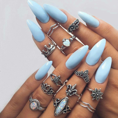 nail, finger, nail care, blue, manicure,