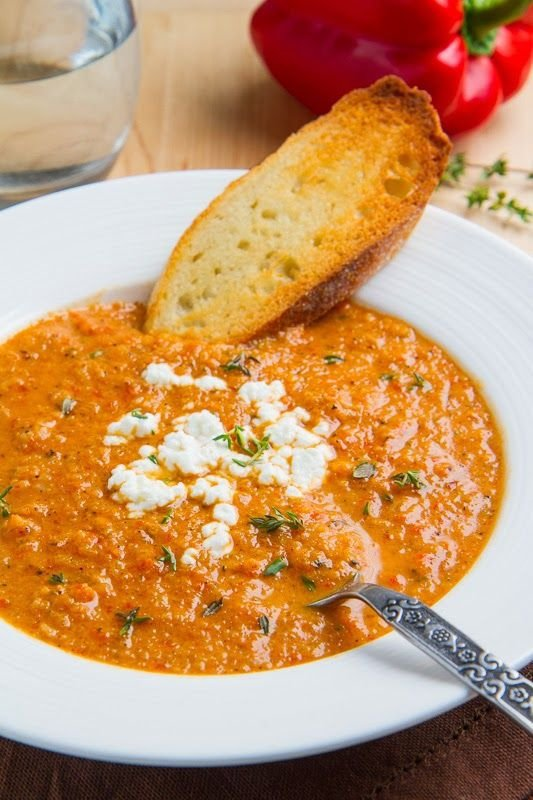 ... Creamy Roasted Red Pepper and Cauliflower Soup with Goat Cheese