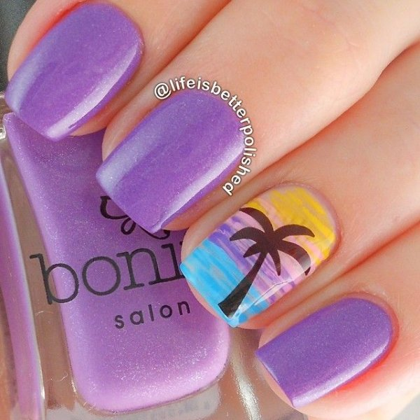 Purple beach nail art 40 awesome beach themed nail art ideas to purple beach nail art prinsesfo Image collections