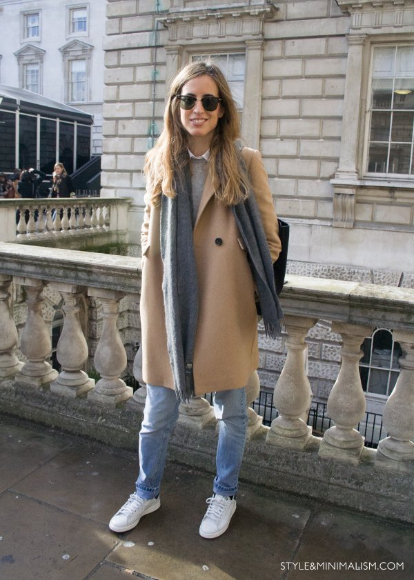 Camel Coat and White Trainers