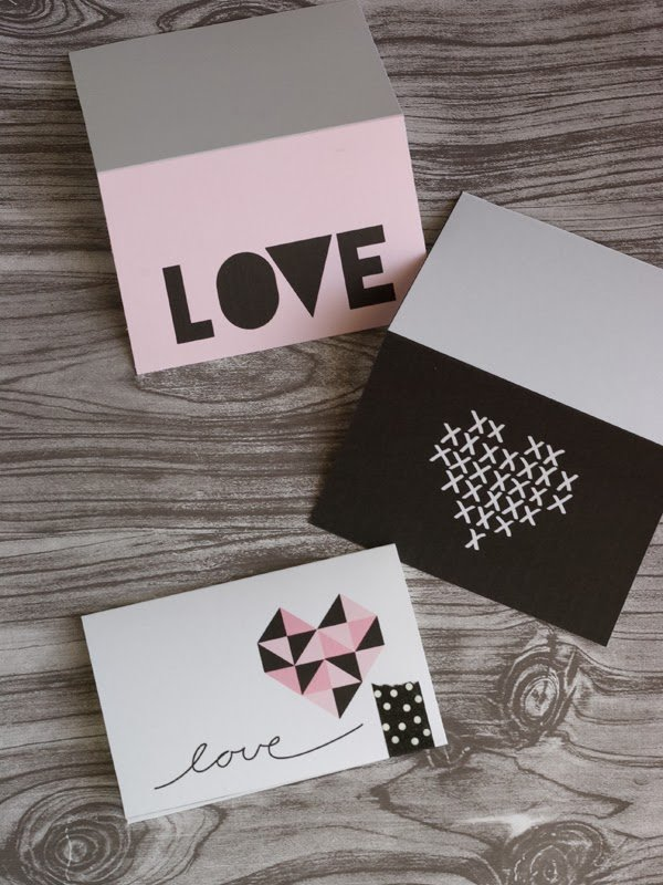Geometric and Cross Stitch Valentine's Day Cards