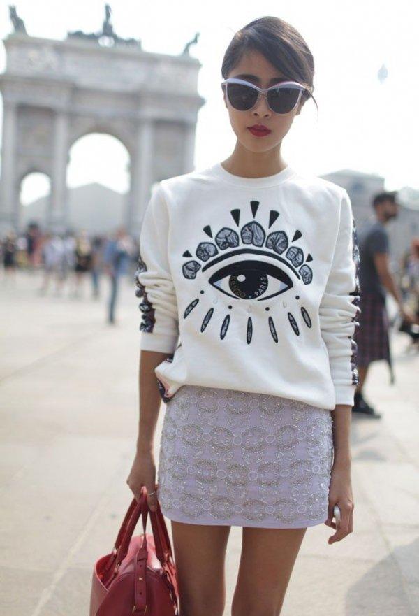 Kenzo Eye,white,clothing,sleeve,fashion,