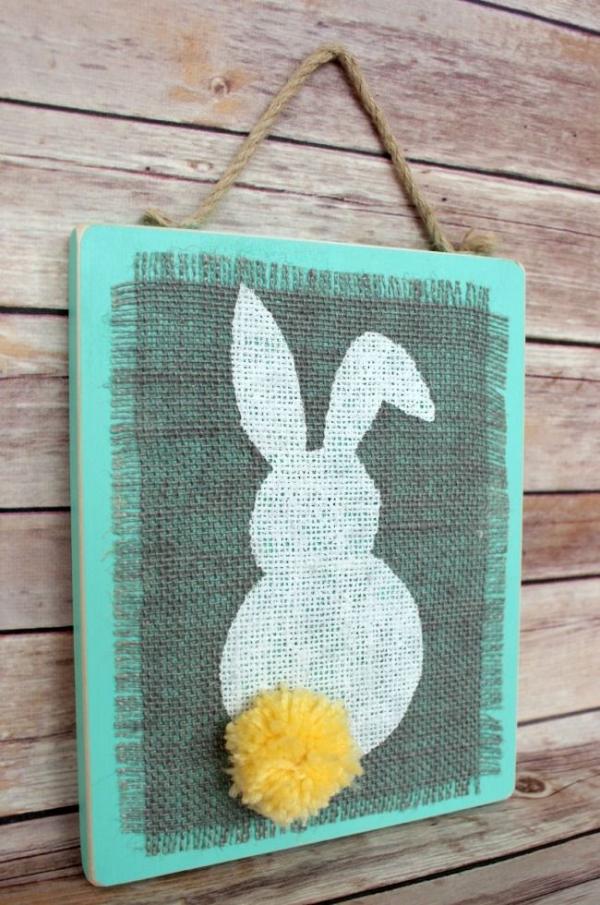 Stenciled Burlap Bunny Plaque