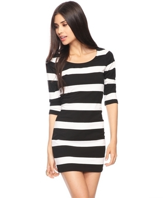 Stripes 3/4 Slv Dress