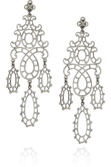 Laurent Gandini Marie Antoinette Sterling Silver Lace Earrings