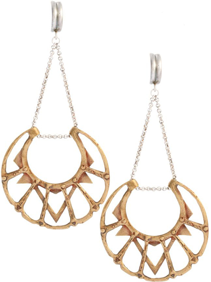 Big Bang Silver and Brass Chandelier Earrings