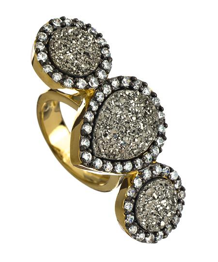 Druzy Three Stone Ring