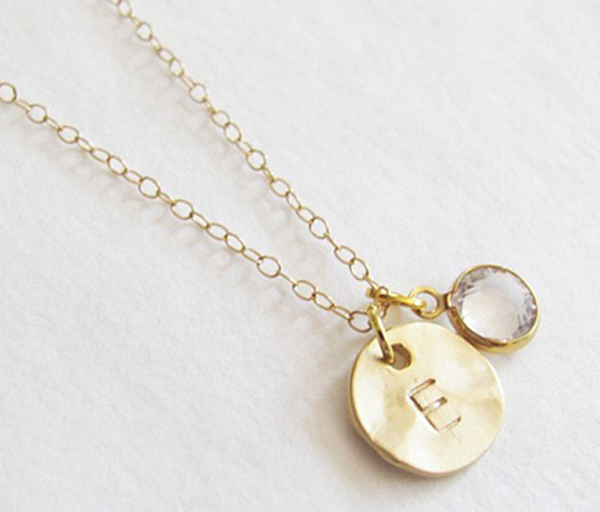 initial charm with swarovski charm necklace