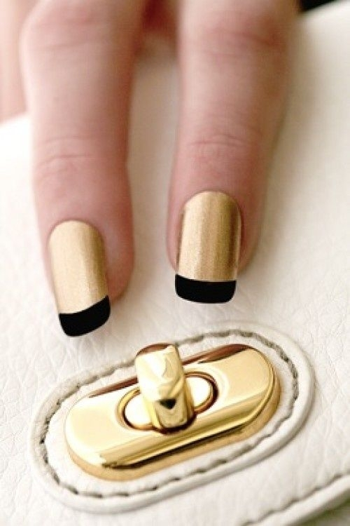 Gold Nails with Black Tip