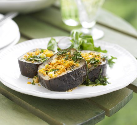 Eggplant with Spicy Apricot Tabbouleh