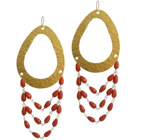 Devon Leigh Red Coral Chandelier Earrings