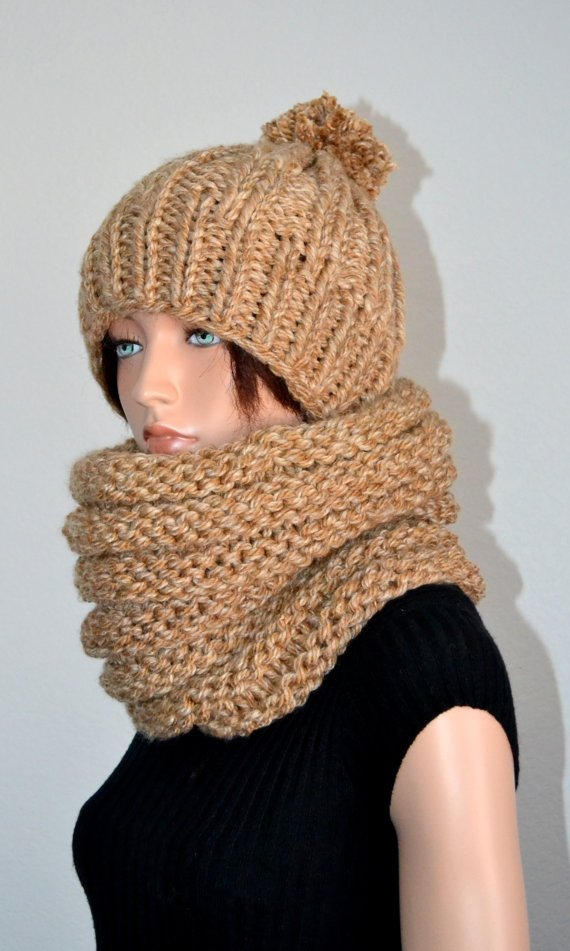 The Cold Blocker Scarf & Hat Set in Oatmeal