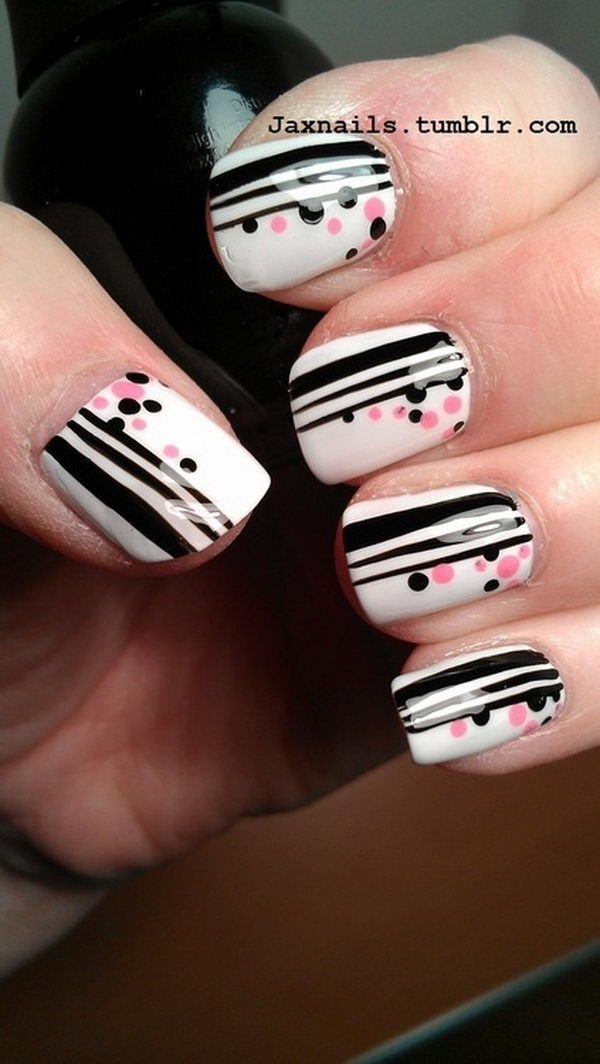 Cute polka dots and stripes this is what striped nail art looks cute polka dots and stripes sciox Images
