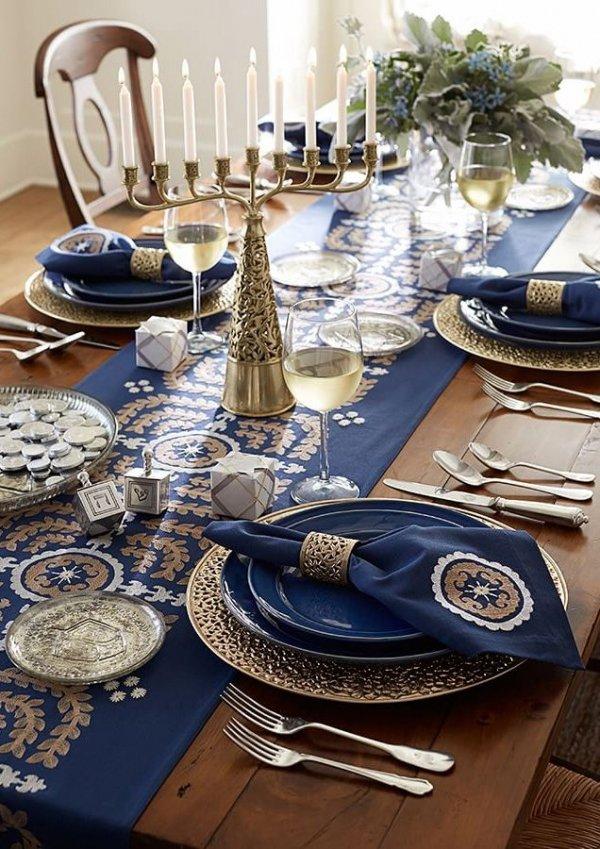 Use A Table Runner 16 Lovely Hanukkah Table Settings To