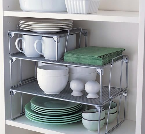Kitchen Organization Ideas Small Spaces: Install Some Cabinet Shelf Risers To Maximize Space