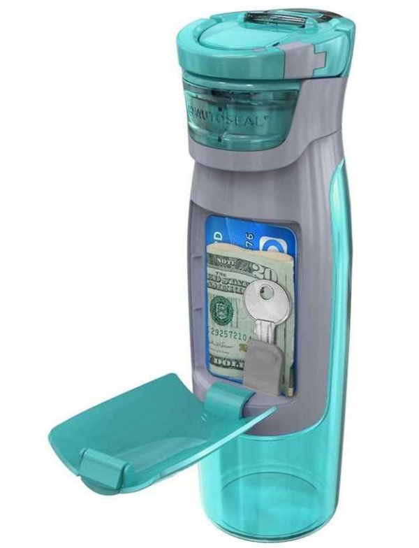 A Water Bottle with a Compartment to Put Money, Cards and Keys