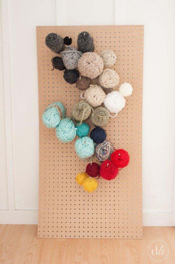 Pegboard yarn storage use these storage ideas to for Diy pegboard craft organizer