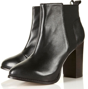 Topshop Antonia Black Elasticated Side Heeled Ankle Boots
