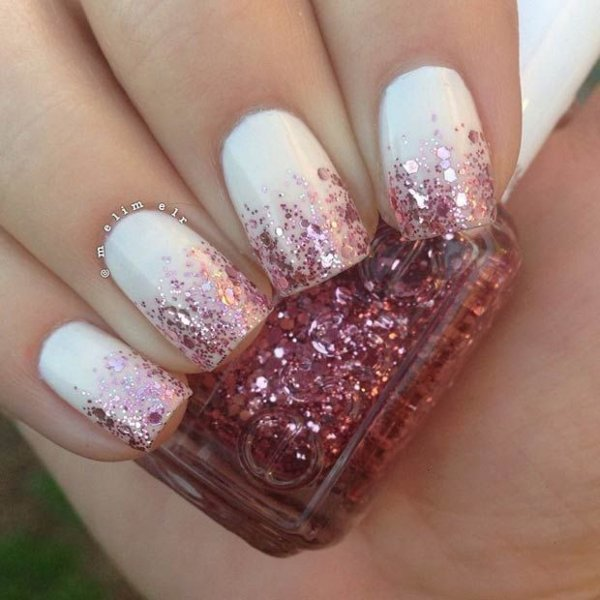 glitter ombre in pink and white 43 ideas for ombre nails