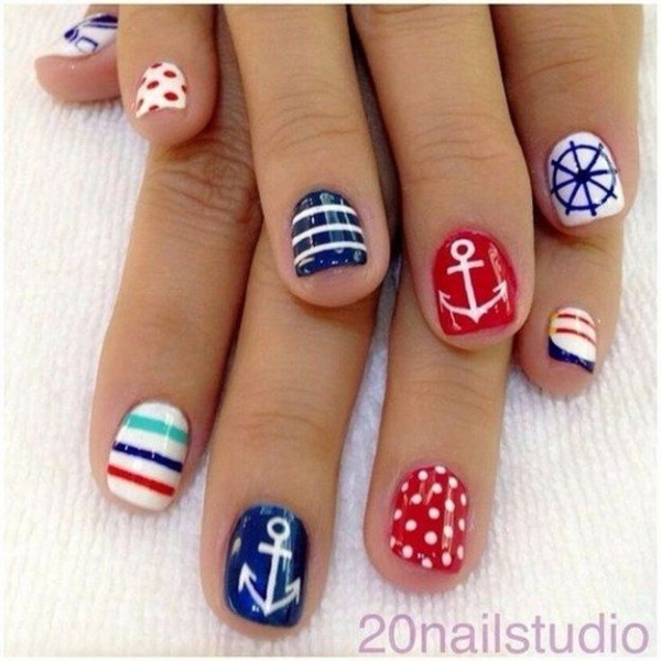 Nautical Red, White and Blue - 40 Awesome Beach Themed Nail Art…