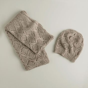 Gray Infinity Scarf and Hat Set