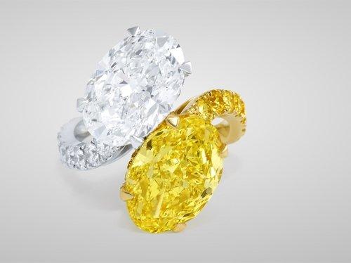 Graff Yellow & White Diamond Cross-over Ring