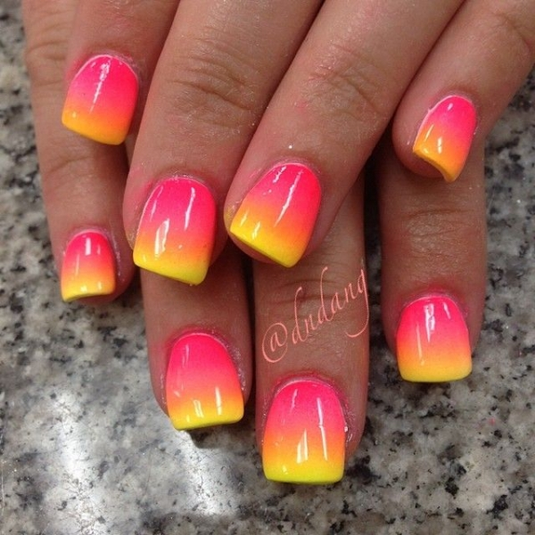 Pink and Yellow Ombre - 45 Awesome Reasons to Try Neon Nail Art…