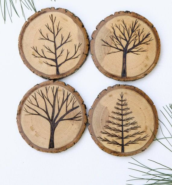 Wood burned tree coasters 28 awesome sets of coasters for Wood ornaments for the garden that you can make at home
