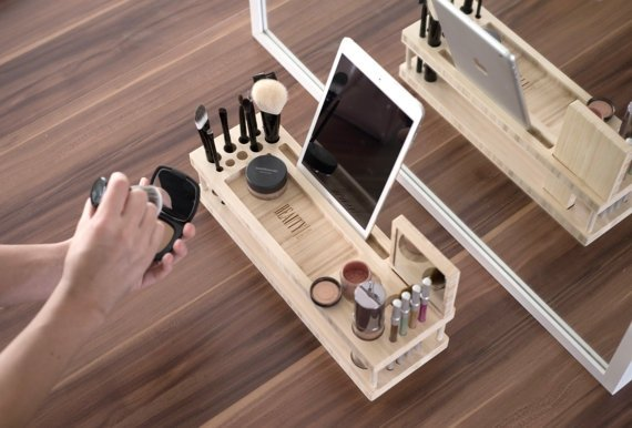 Beauty Station with Docking Station for Phones and Tablets