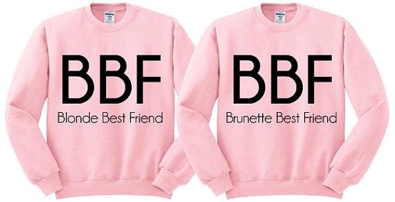 14 Pink Crewneck Blonde Best Friend Brunette Best Friend