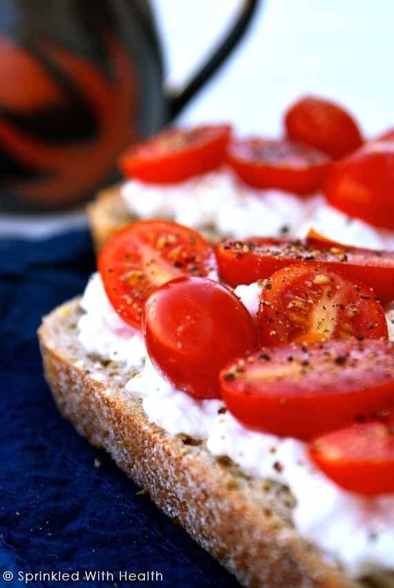 Toast with Cottage Cheese, Cherry Tomatoes, and Salt and Pepper