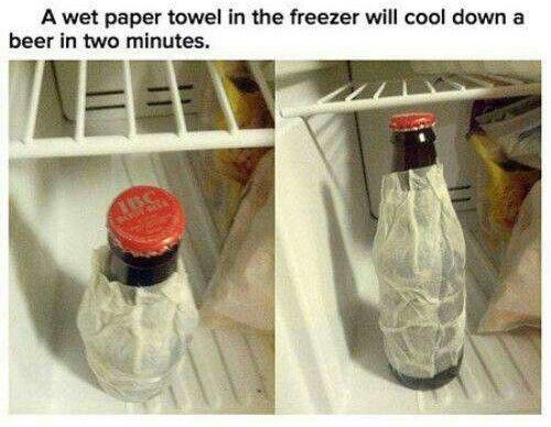 Wet Paper Towel + Beer = Cold Beer!