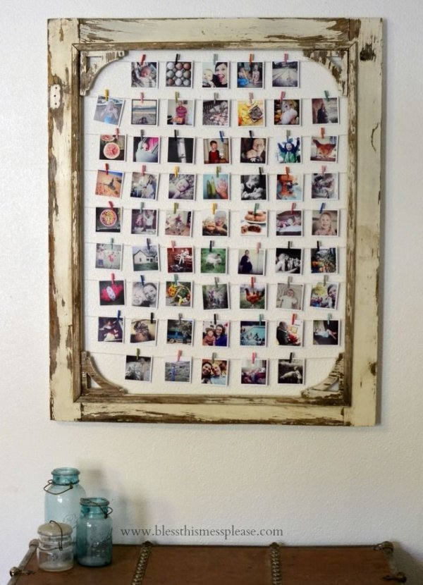 Old screen door 30 perfect ideas for photo display for Diy poster frame ideas