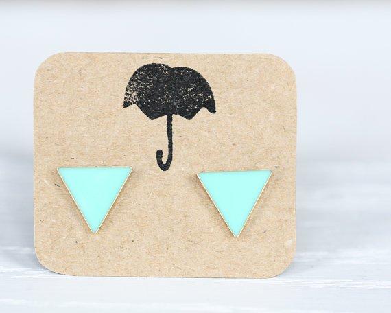 Mint Triangle Post Earrings